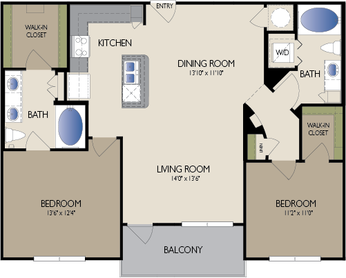 1,116 sq. ft. to 1,144 sq. ft. Manchester floor plan
