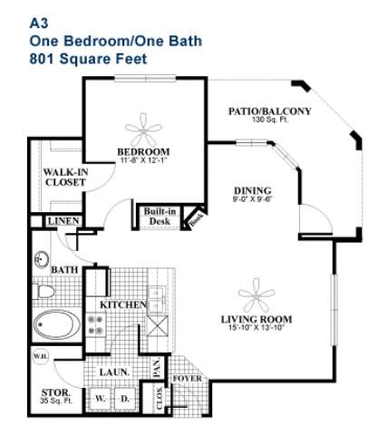 801 sq. ft. Elegant floor plan