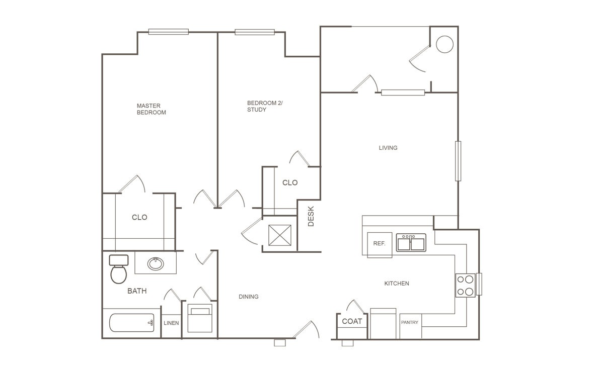 872 sq. ft. 50% floor plan