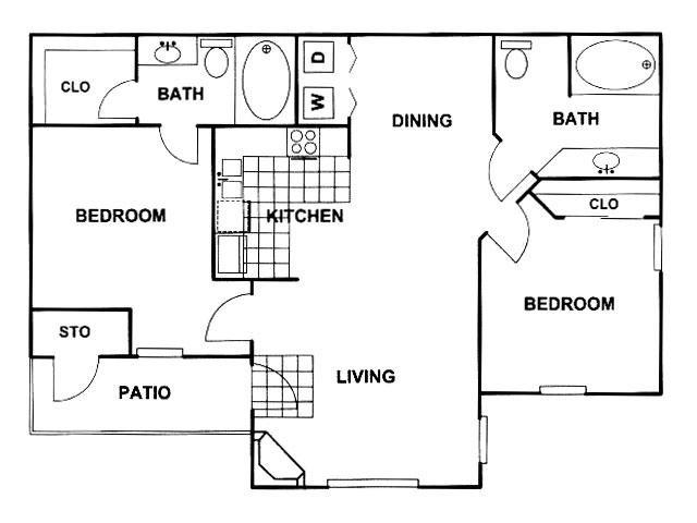 984 sq. ft. D floor plan