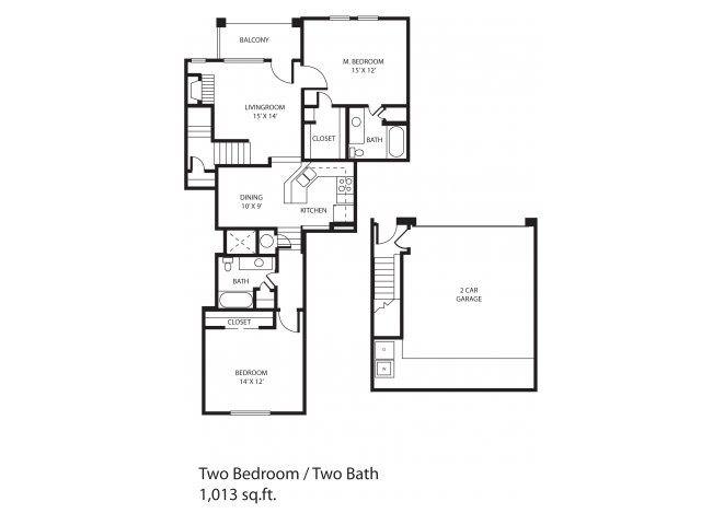 1,013 sq. ft. Regency floor plan