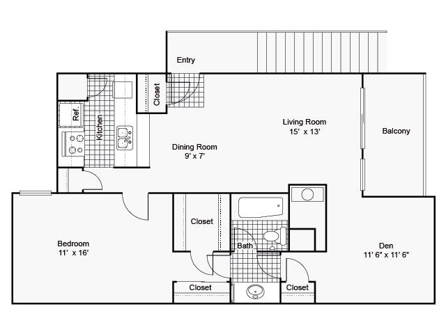 910 sq. ft. II E-2 floor plan