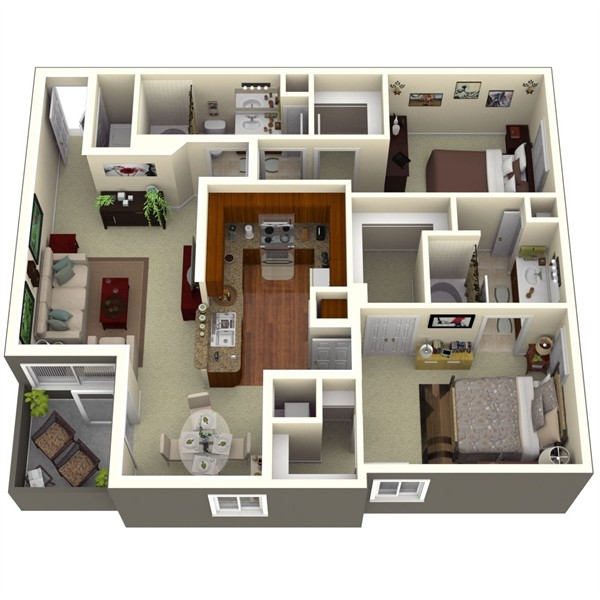 1,101 sq. ft. Pine 1 floor plan