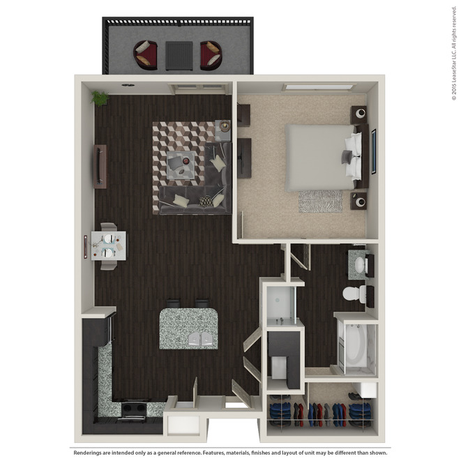 913 sq. ft. A4 floor plan