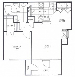 642 sq. ft. Aspen floor plan
