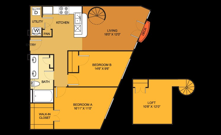 995 sq. ft. B11LOFT floor plan