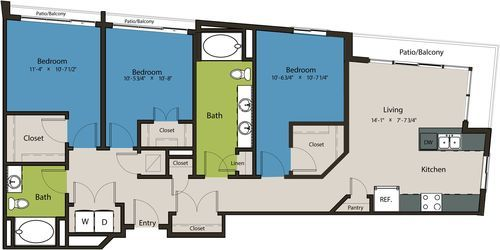 1,314 sq. ft. C1/C1-HC floor plan