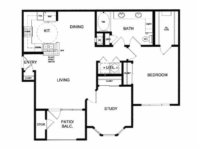 956 sq. ft. D floor plan