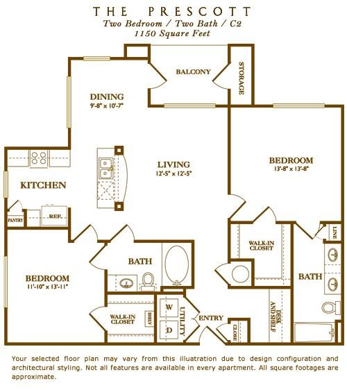 1,150 sq. ft. Prescott floor plan