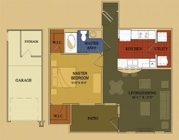 724 sq. ft. Primrose floor plan