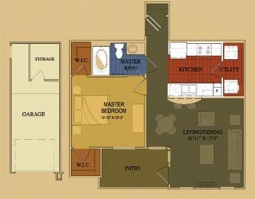724 sq. ft. Cypress floor plan