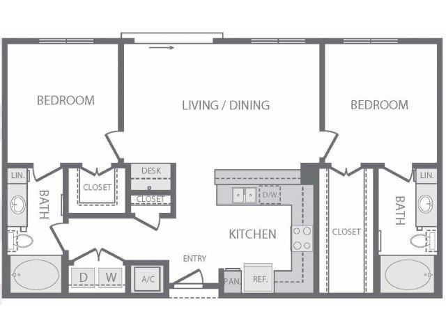1,007 sq. ft. to 1,049 sq. ft. P floor plan