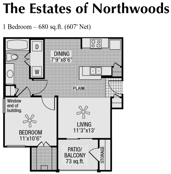 607 sq. ft. to 680 sq. ft. A floor plan