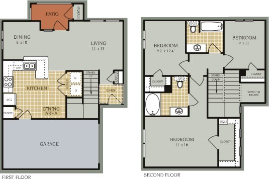 1,268 sq. ft. C2/50% floor plan