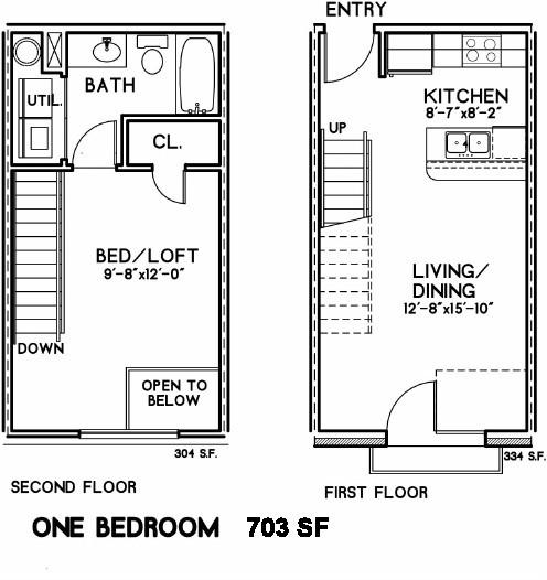 703 sq. ft. Edison III floor plan