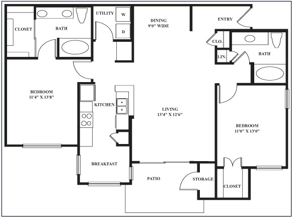 1,170 sq. ft. to 1,216 sq. ft. ANDALUSION floor plan