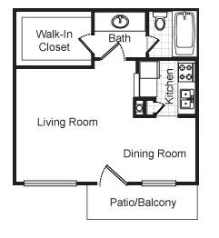 460 sq. ft. Avalon floor plan