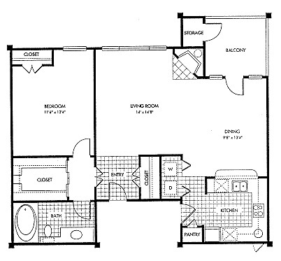 888 sq. ft. A1 floor plan