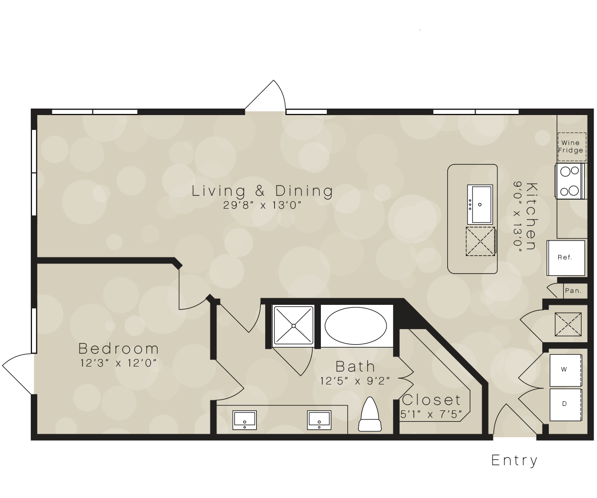 924 sq. ft. A9A floor plan