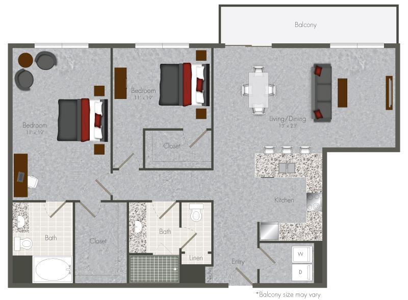1,264 sq. ft. 2-X2 floor plan