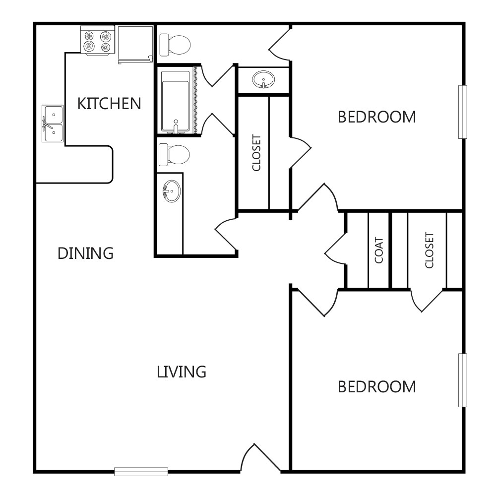 865 sq. ft. B1 ABP floor plan