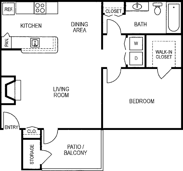 750 sq. ft. A3/80% floor plan