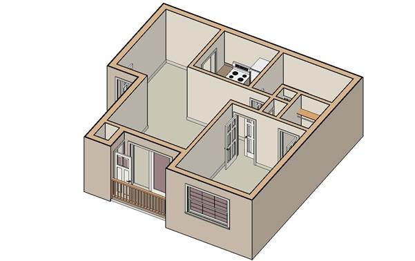 575 sq. ft. Blanco floor plan