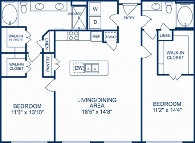 1,302 sq. ft. RICHMOND floor plan