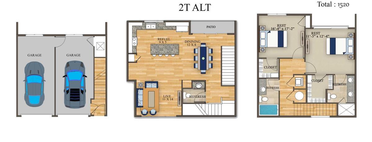 1,520 sq. ft. 2T Alt 1 floor plan