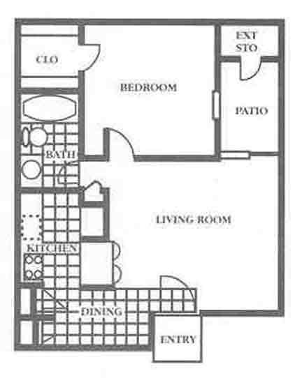 550 sq. ft. A1 Mkt floor plan