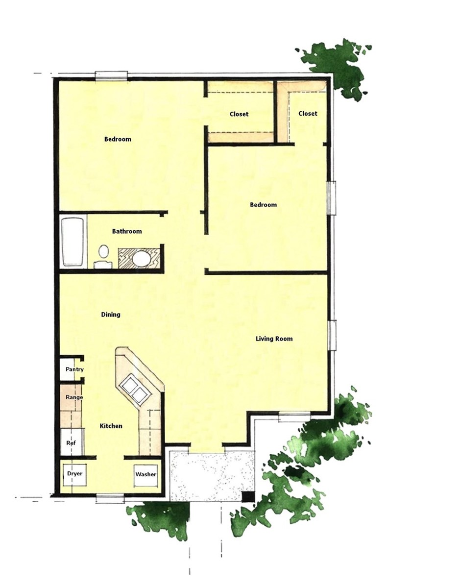 836 sq. ft. 50% floor plan