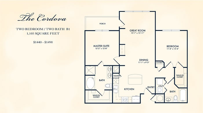 1,105 sq. ft. CORDOVA floor plan