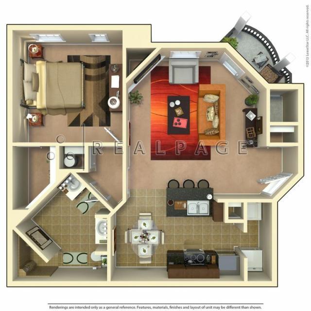 836 sq. ft. Mission floor plan