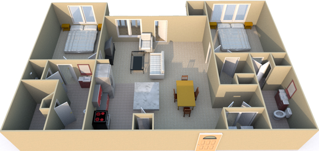 1,202 sq. ft. C4 floor plan