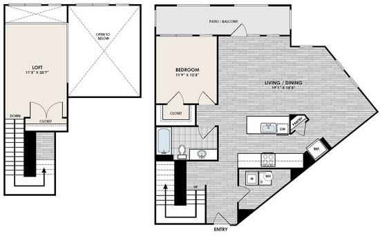 1,307 sq. ft. A8-1 floor plan