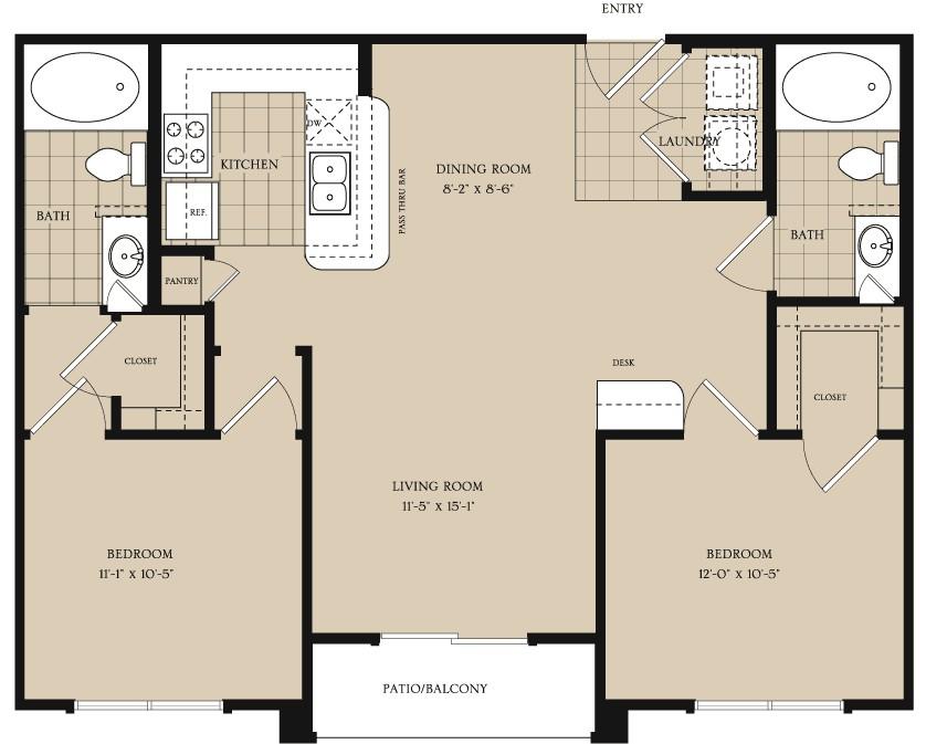 944 sq. ft. B1 floor plan
