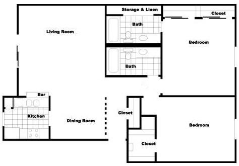 1,057 sq. ft. B6 floor plan