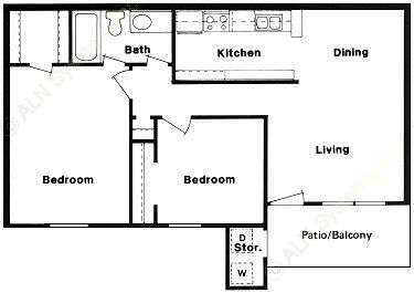 795 sq. ft. C floor plan