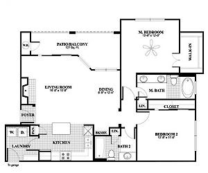 1,196 sq. ft. B3 floor plan
