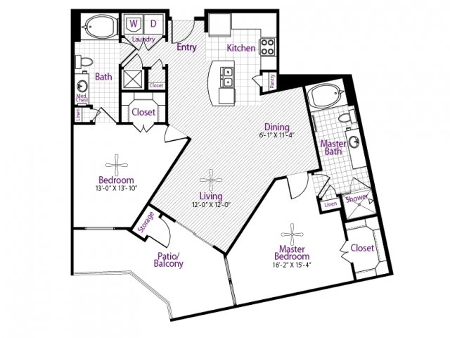 1,206 sq. ft. floor plan