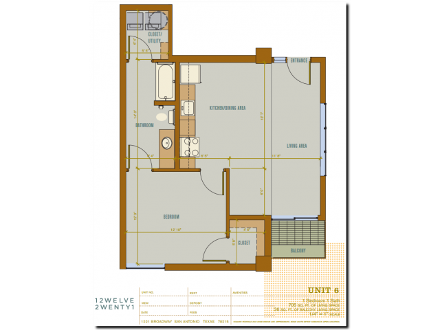 705 sq. ft. 2A6 floor plan