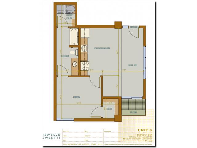 705 sq. ft. 2A6 floor plan