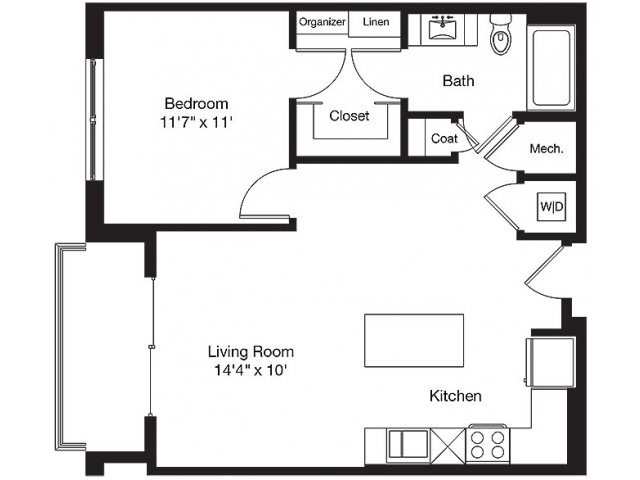 730 sq. ft. LC floor plan
