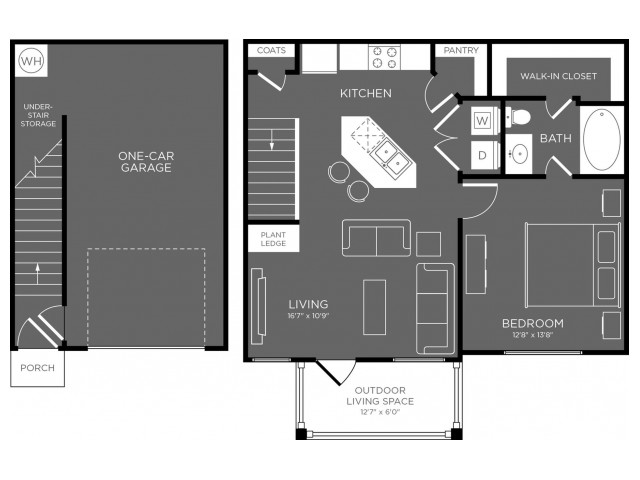 750 sq. ft. Bryce floor plan
