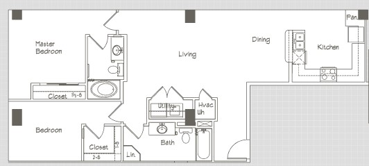 1,083 sq. ft. B1.6 floor plan