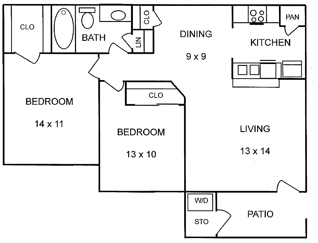 746 sq. ft. Chesnut floor plan