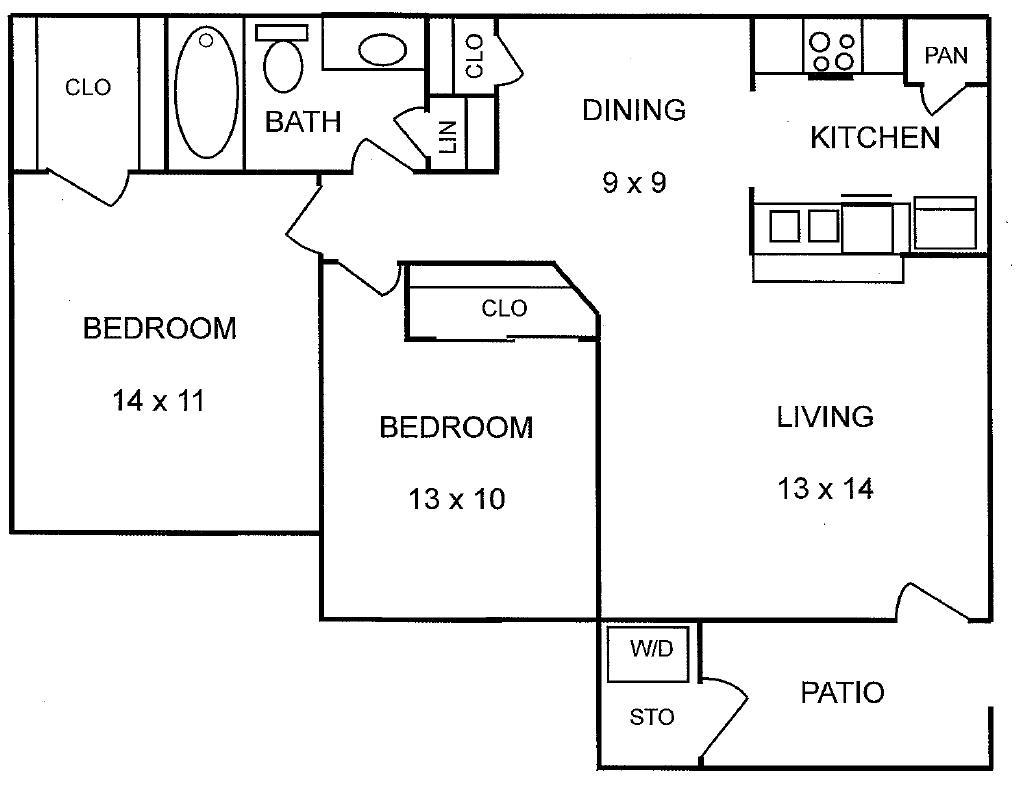 746 sq. ft. Chesnut floor plan