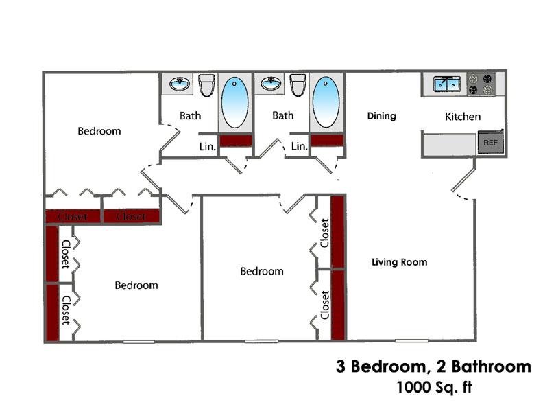 1,000 sq. ft. 3BR All Bills Paid floor plan