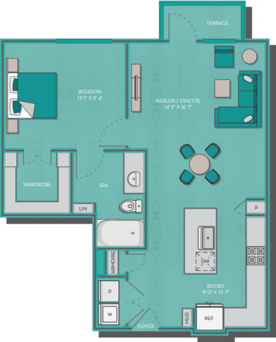 791 sq. ft. Sydney floor plan