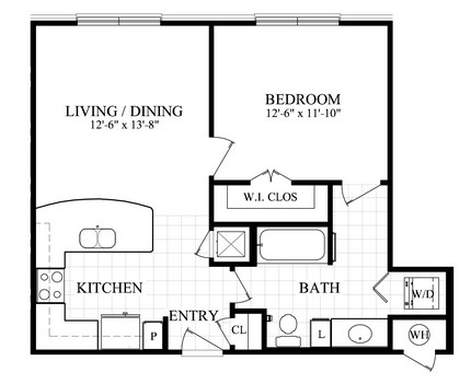 640 sq. ft. A floor plan